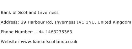 Bank of Scotland Inverness Address Contact Number