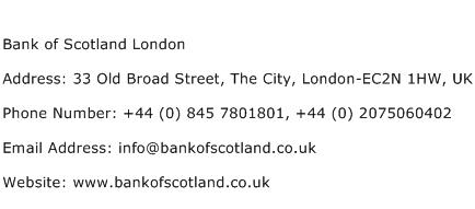 Bank of Scotland London Address Contact Number