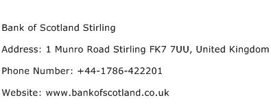 Bank of Scotland Stirling Address Contact Number