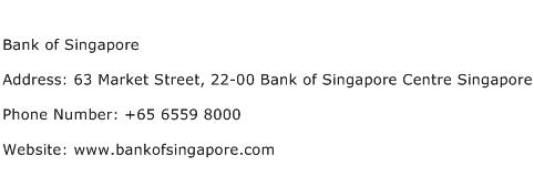 Bank of Singapore Address Contact Number