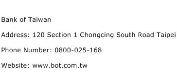 Bank of Taiwan Address Contact Number