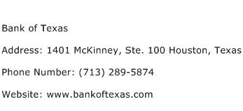 Bank of Texas Address Contact Number