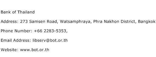 Bank of Thailand Address Contact Number