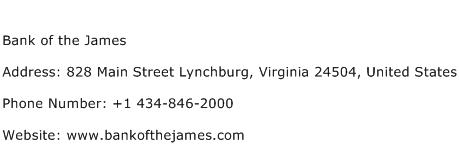 Bank of the James Address Contact Number
