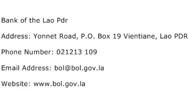 Bank of the Lao Pdr Address Contact Number