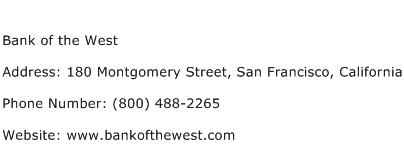 Bank of the West Address Contact Number