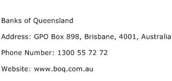 Banks of Queensland Address Contact Number