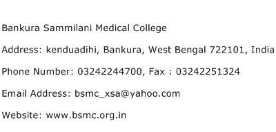 Bankura Sammilani Medical College Address Contact Number