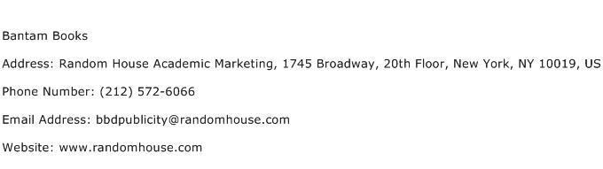 Bantam Books Address Contact Number