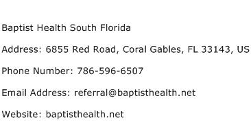 Baptist Health South Florida Address Contact Number