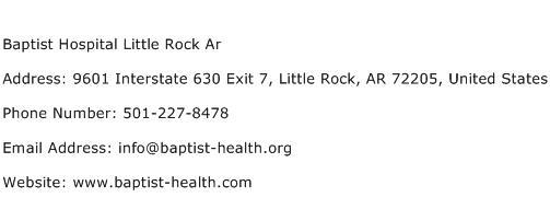 Baptist Hospital Little Rock Ar Address Contact Number