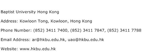 Baptist University Hong Kong Address Contact Number