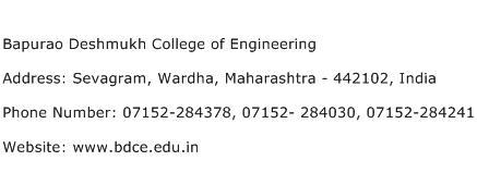 Bapurao Deshmukh College of Engineering Address Contact Number