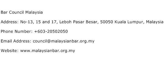 Bar Council Malaysia Address Contact Number