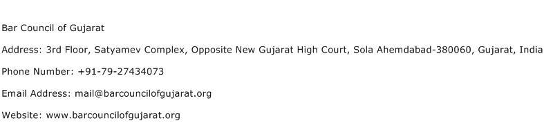 Bar Council of Gujarat Address Contact Number