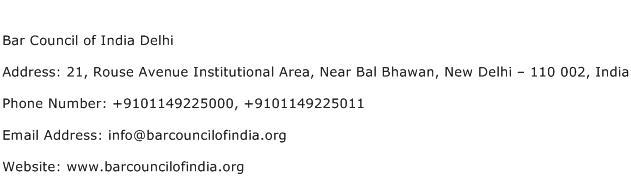 Bar Council of India Delhi Address Contact Number