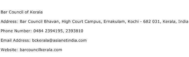 Bar Council of Kerala Address Contact Number