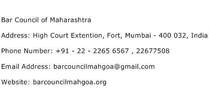 Bar Council of Maharashtra Address Contact Number