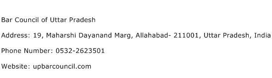 Bar Council of Uttar Pradesh Address Contact Number