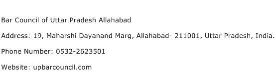 Bar Council of Uttar Pradesh Allahabad Address Contact Number