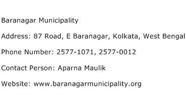 Baranagar Municipality Address Contact Number
