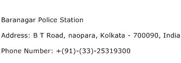Baranagar Police Station Address Contact Number
