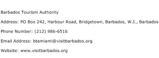 Barbados Tourism Authority Address Contact Number