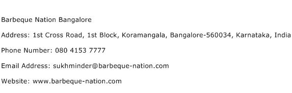 Barbeque Nation Bangalore Address Contact Number