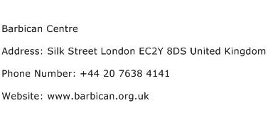 Barbican Centre Address Contact Number