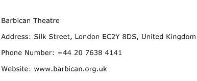 Barbican Theatre Address Contact Number