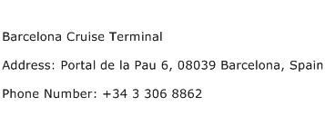 Barcelona Cruise Terminal Address Contact Number