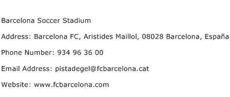 Barcelona Soccer Stadium Address Contact Number