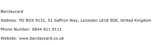 Barclaycard Address Contact Number