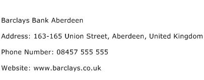 Barclays Bank Aberdeen Address Contact Number