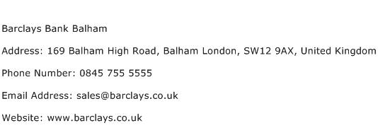 Barclays Bank Balham Address Contact Number