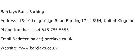 Barclays Bank Barking Address Contact Number