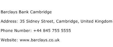 Barclays Bank Cambridge Address Contact Number
