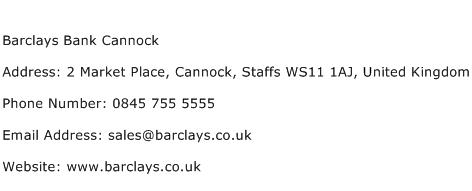 Barclays Bank Cannock Address Contact Number