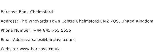 Barclays Bank Chelmsford Address Contact Number
