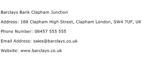 Barclays Bank Clapham Junction Address Contact Number