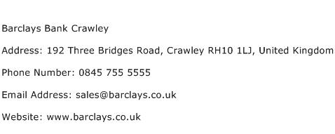 Barclays Bank Crawley Address Contact Number