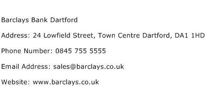 Barclays Bank Dartford Address Contact Number