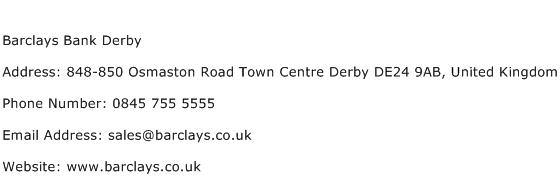 Barclays Bank Derby Address Contact Number