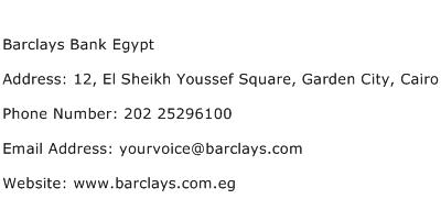 Barclays Bank Egypt Address Contact Number