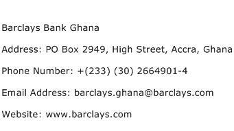Barclays Bank Ghana Address Contact Number