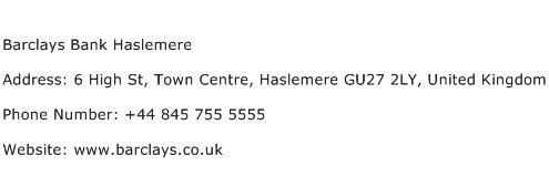 Barclays Bank Haslemere Address Contact Number