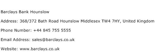 Barclays Bank Hounslow Address Contact Number
