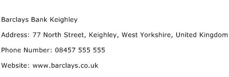Barclays Bank Keighley Address Contact Number