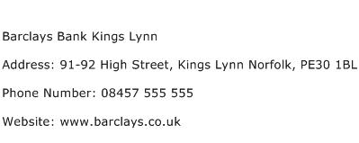 Barclays Bank Kings Lynn Address Contact Number
