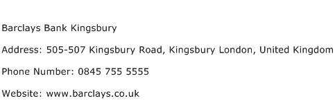 Barclays Bank Kingsbury Address Contact Number